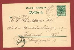 Postkarte  Bahnpoststempel  Donaueschingen -Furtwangen Zug 7  1894 - Germany