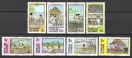 Tokelau 1976 Gesellschaft Alltagsleben Arbeitswelt Kanu Fischfang Handwerk Schnitzen Weben Kokos Haushalt, Mi. 42-9 **