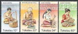 Tokelau 1982 Arbeitswelt Handwerk Holzschnitzerei Korbflechterei Bohren Beh�lter, Mi. 74-7 **