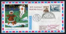 1977 Austria Greenland Graz M/S DUKEGAT Aalborg - Thule  Polar Bear Ship Cover Austrian Airlines Wien - Copenhagen - 1945-.... 2nd Republic