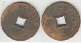 French Indochina Bronze Coin 1897 2 Sapeque KM# 6 - Vietnam