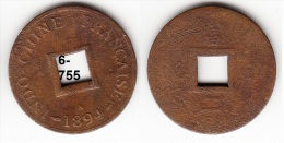 French Indochina Bronze Coin 1894 2 Sapeque KM# 6 - Laos
