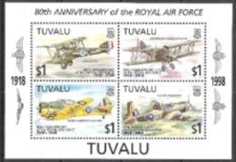 Tuvalu 1998 Geschichte Militär Luftwaffe Royal Air Force RAF Flugzeuge Aeroplanes Harvard Sopwith Vultee, Bl. 63 ** - Tuvalu (fr. Elliceinseln)