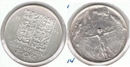CHECOSLOVAQUIA 200 CORONAS 1994 NATURALEZA PLATA SILVER F1 - Checoslovaquia