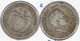 COLOMBIA 50 CENTAVOS PESO 1912 PLATA SILVER F1 - Colombia