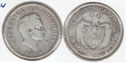 COLOMBIA 50 CENTAVOS PESO 1914 PLATA SILVER F1 - Colombia