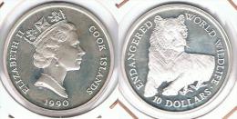 COOK ISLANDS 10 DOLLARS 1990 WORLD WILDLIFE TIGRE PLATA SILVER. F1 - Islas Cook