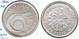 CUBA 20 PESOS 1979 NO ALINEADOS PLATA SILVER F1 - Cuba