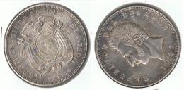 ECUADOR 5 SUCRES 1943 MEXICO PLATA SILVER F1 PATINA - Ecuador