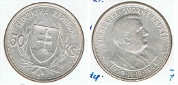 ESLOVAQUIA 50 CORONAS 1944 INDEPENDENCIA PLATA SILVER F1 - Eslovaquia