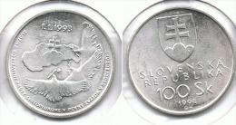 ESLOVAQUIA 100 CORONAS 1993 PLATA SILVER F1 - Eslovaquia