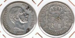 FILIPINAS ALFONSO XII 50 CENTIMOS  PESO  1885 PLATA SILVER F1 - Filipinas