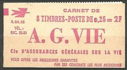 CARNET DE 8 TIMBRES DECARIS N� 1263-C 2 NEUF** SANS CHARNIERE / MNH