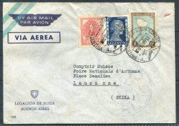 1955 Argentina Legacion De Suiza Buenos Aires Airmail Cover - Comptoir Suisse, Foire Nationale D'Automne, Lausanne - Argentine