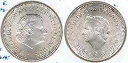 HOLANDA 10 GULDEN 1970 DOS REINAS PLATA SILVER F3 - 1948-1980 : Juliana