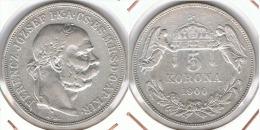 HUNGRIA 5 CORONA 1900 PLATA SILVER F1 - Hungría