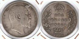 INDIA RUPIA RUPEE  EDUARDO 1906 PLATA SILVER F1 - India
