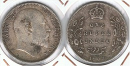 INDIA RUPIA RUPEE  EDUARDO 1907 PLATA SILVER F1 - India