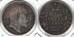 INDIA RUPIA RUPEE  EDUARDO 1909 PLATA SILVER F1 - India