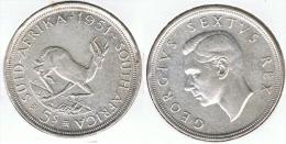 SUDAFRICA SUID AFRIKA 5 SHILLING 1951 PLATA SILVER G1 - Sudáfrica
