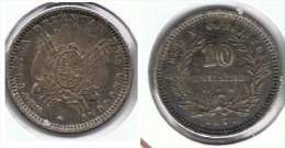 URUGUAY 10 CENTESIMOS PESO 1877 PLATA SILVER F1 - Uruguay