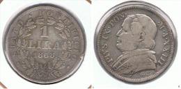 VATICANO LIRA 1868 PLATA SILVER F1 - Vaticano (Ciudad Del)