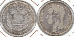VENEZUELA 5 BOLIVAR 1886 PLATA SILVER F1 - Venezuela