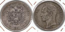 VENEZUELA 5 BOLIVAR 1911 PLATA SILVER F1 - Venezuela