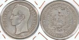 VENEZUELA 5 BOLIVAR 1912 PLATA SILVER F1 - Venezuela