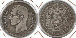 VENEZUELA 5 BOLIVAR 1936 PLATA SILVER F1 - Venezuela