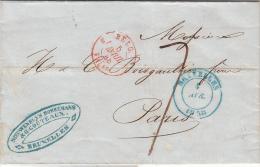 BELGIQUE 1848 LAC. NIEUWENHUIS BORREMANS BRUXELLES. TAXE TAMPON 7 POUR PARIS ENTREE BELG. VALnes.  / ROUGE 24 - Marcophilie (Lettres)