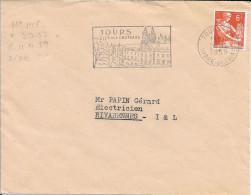 N° 1115  FRANCE  TARIF DU 1.07.57 AU 5.01.59  IMPRIME - FLAMME TOURS N° 936 S (voir Description) - Postmark Collection (Covers)