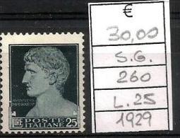 1929 IMPERIALE Regno Valore Da L.25 Nuovo Senza Gomma - Nuovi