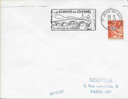 GARD (30)  ST JEAN DU GARD -  FLAMME N° JE 504 S - LA CORNICHE DES CEVENNES / LE MUSEE DU DESERT   1957  BELLE FRAPPE - Marcophilie (Lettres)