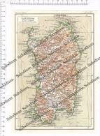 SARDEGNA  - Vecchia Mappa Cartina Originale D'epoca - Mappe