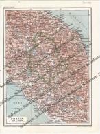 UMBRIA - Vecchia Mappa Cartina Originale D´epoca - Mappe