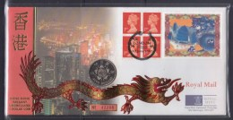1997 GB QEII 1st Class Stamps With Hong Kong Uncirculated $5 Coin Souvenir Cover - 1997-... Région Administrative Chinoise