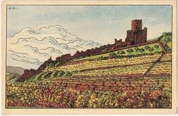 68 KB 8 - CPA KAYSERSBERG - Vignoble Avec Vue Sur Le Château D´après Une Maquette De G. Striebeck - Kaysersberg