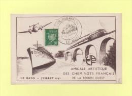 Exposition Philatelique - Le Mans - 1943- Cheminots Francais De La Region Ouest - Cachets Manuels