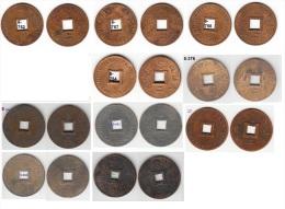 French Cochin Indochina Set Of 10 Bronze Coins 1879-1901 2 Sapeque KM# 2, 6 Rare - Laos