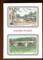 CP L 77264-77394 - CARTE POSTALE DESSIN COULEUR 2 VUES - 77 CHAUMES EN BRIE - France