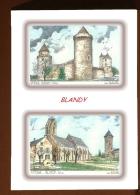CP L 77268-77349 - CARTE POSTALE DESSIN COULEUR 2 VUES - 77 BLANDY - France