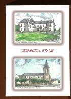 CP L 77298-77547 - CARTE POSTALE DESSIN COULEUR 2 VUES - 77 VERNEUIL L ETANG - France