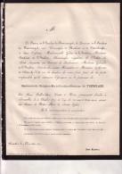 NORDERWIJCK WEESTMEERBEEK Delphine De T´SERCLAES 52 Ans En 1871 Doodsbrief GODFRIAUX Adel - Décès