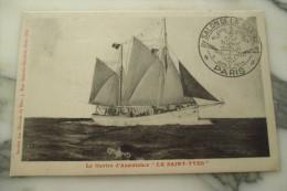 CPA BATEAUX MARINE LE SAINT YVES SALON DE LA MARINE PARIS CARTE MAXIMUM SIGNE - Segelboote