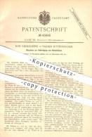 Original Patent - Rob. Niederdrenk In Barmen-Rittershausen , 1887 , Anfertigung Von Metallhülsen , Metall , Hülsen !!! - Historische Dokumente