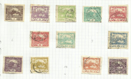 Tchécoslovaquie N°1 à 5, 7, 8, 10 à 12,14, 15 Cote 2.50 Euros - Oblitérés