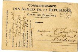 FRANCHISE POSTALE  MILITAIRE  CORRESPONDANCE  DES ARMEES DE LA REPUBLIQUE - Marcophilie (Lettres)