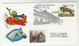 1993 USA  Anderson CIncinnati HORSE RACE  EVENT COVER Horses Stamps Sport Racing Kermit Frog Label - Horses