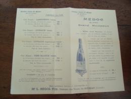 Facture Tarif Grand Chais Du Medoc Le Bouscat  Segol - 1900 – 1949